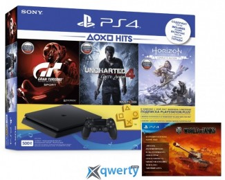 Sony PlayStation 4 Slim 500GB Bundle (CUH-2108A) + Horizon Zero Dawn. Complete Edition + Uncharted 4: Путь вора + Gran Turismo Sport + PSPlus 3 месяца + карта World of Tanks