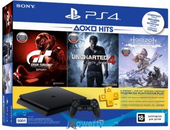 Sony PlayStation 4 Slim 500GB Rus Black Bundle (CUH-2108A) + Horizon Zero Dawn. Complete Edition + Uncharted 4: Путь вора + Gran Turismo Sport + PSPlus 3 месяца