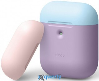 Elago A2 Duo Case Lavender/Pastel Blue/Lovely Pink for Airpods with Wireless Charging Case (EAP2DO-LV-PBLPK)