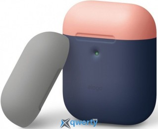 Elago A2 Duo Case Indigo/Peach/Medium Grey for Airpods with Wireless Charging Case (EAP2DO-JIN-PEMGY)