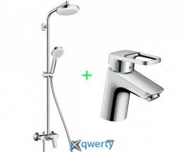 Crometta 160 Showerpipe Душевая система 1,60м + Logis Loop 70 Смеситель для раковины (27266400+71150000)
