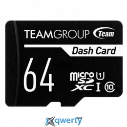 TEAM 64 GB microSDXC Class 10 UHS-I Dash Card + SD Adapter TDUSDX64GUHS03