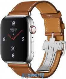 Apple Watch Hermes Series 4 GPS + LTE (MU6T2) 44mm Stainless Steel Case with Fauve Barenia Leather Single Tour Deployment Buckle
