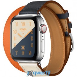 Apple Watch Hermes Series 4 GPS + LTE (MU7K2) 40mm Stainless Steel Case with Indigo/Craie/Orange Swift Leather Double Tour