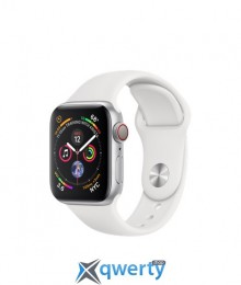 Apple Watch Series 4 GPS + LTE (MTV22/MTX02) 44mm Polished Stainless Steel with White Sport Band