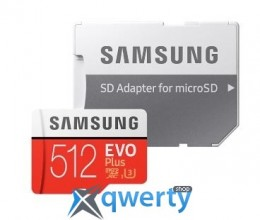 Samsung 512GB microSDXC C10 UHS-I U3 R100/W90MB/s Evo Plus + SD адаптер (MB-MC512GA/RU)