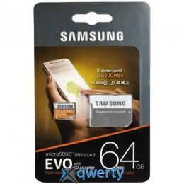 Samsung 64GB microSDXC C10 UHS-I U3 R100MB/s Evo + SD адаптер (MB-MP64GA/APC)
