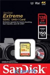 SanDisk 128GB SDXC C10 UHS-I U3 R150/W70MB/s Extreme (SDSDXV5-128G-GNCIN)
