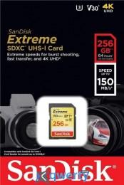 SanDisk 256GB SDXC C10 UHS-I U3 R150/W70MB/s Extreme (SDSDXV5-256G-GNCIN)