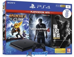 Sony PlayStation 4 Slim 1TB + Ratchet & Clank + Uncharted 4 + The Last of Us Remastered