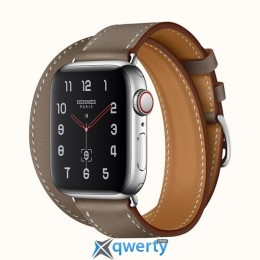 add	Apple Watch Hermes Series 4 GPS + LTE (MYFY2) 40mm Stainless Steel Case with Etoupe Swift Leather Double Tour