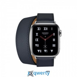 Apple Watch Hermes Series 4 GPS + LTE (MU6Q2) 40mm Stainless Steel Case with Blue Indigo Swift Leather Double Tour