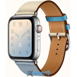 Apple Watch Hermes Series 4 GPS LTE (MUH02) 44mm Stainless Steel Case with Bleu Lin/Craie/Bleu/Nord Swift Single Tour