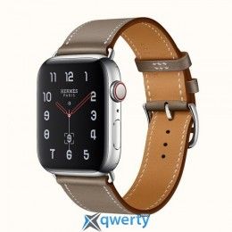 Apple Watch Hermes Series 4 GPS LTE (MUH02) 44mm Stainless Steel Case with Etoupe Swift Leather Single Tour