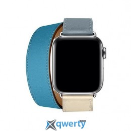 Apple Watch Hermes Series 4 GPS + LTE (MYFY2) 40mm Stainless Steel Case with Bleu Lin/Craie/Bleu/Nord Swift Doubl Tour