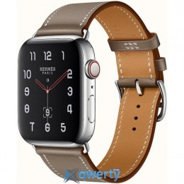 Apple Watch Hermes Series 4 GPS + LTE (MYFY2) 40mm Stainless Steel Case with Etoupe Swift Leather Single Tour