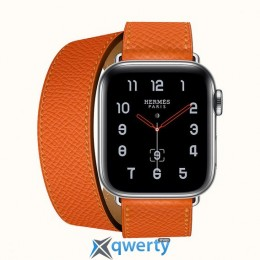 Apple Watch Hermes Series 4 GPS + LTE (MYFY2) 40mm Stainless Steel Case with Feu Epsom Leather Double Tour