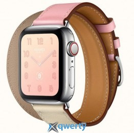 Apple Watch Hermes Series 4 GPS + LTE (MYFY2) 40mm Stainless Steel Case with Rose Sakura/Craie/Argile Swift/Doubl Tour