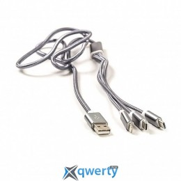 PowerPlant 2.1A 3-в-1 USB2.0 AM/Apple Lightning/Micro-BM/Type-C 1.2m Silver (CA910663)