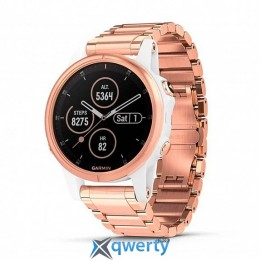 GARMIN Fenix 5S Plus Sapphire Rose Gold with Gold Metal & White Silicone Bands(010-01987-11/84)