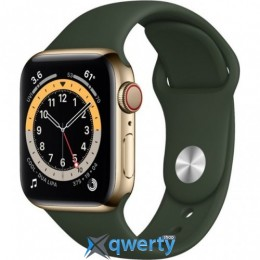 Apple Watch Series 6 GPS + Cellular 40mm Gold Stainless Steel Case w. Cyprus Green Sport B. (M02W3) / M06V3