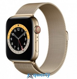 Apple Watch Series 6 GPS + Cellular 40mm Gold Stainless Steel Case with Gold Milanese Loop (M02X3, M06W3)