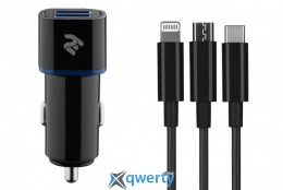 2E 2хUSB 2.4A 3в1 Lightning/microUSB/Type-C, black (2E-ACR01-C3IN1)