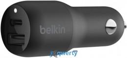 Belkin BOOST CHARGE USB-C and USB-A Car Charger 30W Black (F7U100BTBLK)
