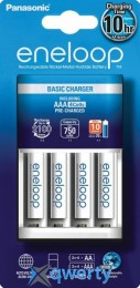 Panasonic Basic Charger New + Eneloop 4AAA 750 mAh NI-MH (K-KJ51MCC04E)