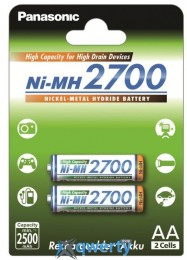 Panasonic High Capacity AA 2700 mAh 2BP Ni-MH (BK-3HGAE/2BE)