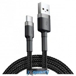 Baseus Сafule Cable USB For Type-C 3A 1M Gray+Black (CATKLF-BG1)