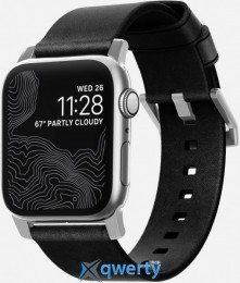 Nomad Modern Strap for Apple Watch 44mm/42mm Silver/Black (NM1A41SM00)