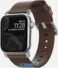 Nomad Modern Strap for Apple Watch 44mm/42mm Silver/Brown (NM1A4RSM00)