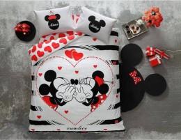Двуспальный евро комплект TAC Disney M&M Amour Ранфорс / простынь на резинке (60176289)