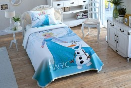 Комплект постельного белья с покрывалом-пике TAC Frozen Ice / простынь на резинке (60201908)