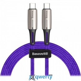 USB Baseus Water Drop-shaped Lamp Type-C PD2.0 60W Flash Charge Data Cable 20V 3A 1m Purple (CATSD-J05)