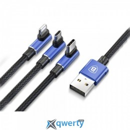 Micro USB/Lightning/USB Type-C Baseus MVP 3 in 1 Mobile Game Cable USB For MicroUSB+Lightning+Type-C 3.5A 1.2M Blue (CAMLT-WZ03)