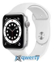 Apple Watch Series 6 GPS (M00D3) 44mm Silver Aluminium Case with White Sport Band