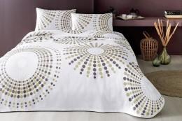 Комплект постельного белья с покрывалом-пике TAC Moon Brown полуторный / простынь на резинке (60227241)