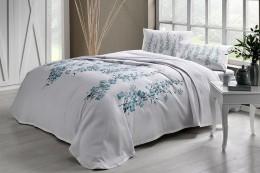 Комплект постельного белья с покрывалом-пике TAC Ronna Mint полуторный / простынь на резинке (60227319)