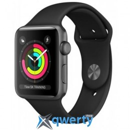 Apple Watch Series 3 GPS, 38mm Space Grey Aluminium Case with Blac (MTF02FS/A)