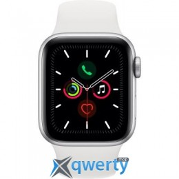 Apple Watch Series 5 GPS, 40mm Silver Aluminium Case with White Sp (MWV62GK/A)