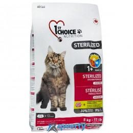 1st Choice Sterilized Chicken (Фест Чойс стерилайзид курица) сухой супер премиум корм для кастрированных котов и стерилизованных кошек, 5 кг. (ФЧКВСТ5) купить в Одессе