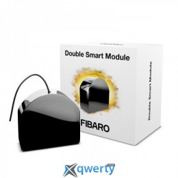 Fibaro Умное реле Double Smart Module, 9.5A, Z-Wave, 24-30V DC/ 230V AC, 2 сухих контакта, черный (FGS-224)