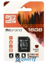 Mibrand microSDHC 16GB Class 10 UHS-1 + SD адаптер (MICDHU1/16GB-A)