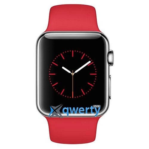 Apple Watch 38mm Stainless Steel Case with Red Sport Band (MLLD2)