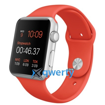 Apple Watch MLC42 42mm Silver Aluminium Case with Orange Sport Band