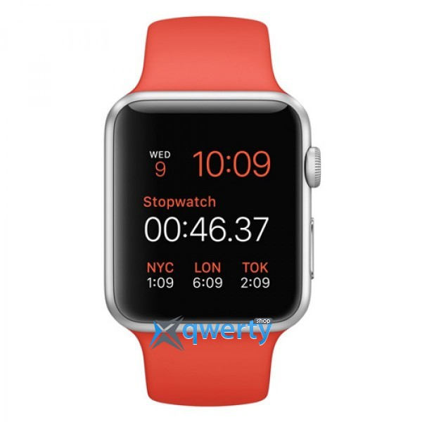 Apple Watch MLCF2 38mm Silver Aluminium Case with Orange Sport Band