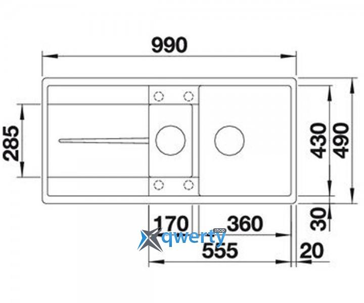 BLANCO METRA 6S-F silgr. (519113) антрацит c клапаном