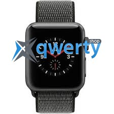 Apple Watch Series 3 GPS + LTE MQJT2 38mm Space Gray Aluminum Case with Dark Olive Sport Loop
